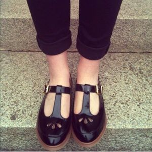Topshop black leather patent maryjane flats